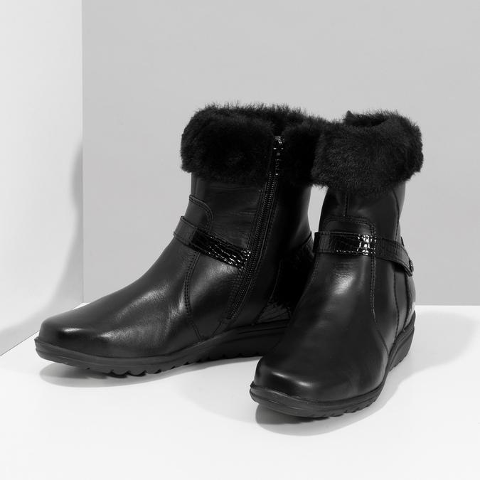 Dámské kožené zimní boty s kožíškem comfit, černá, 594-6710 - 16