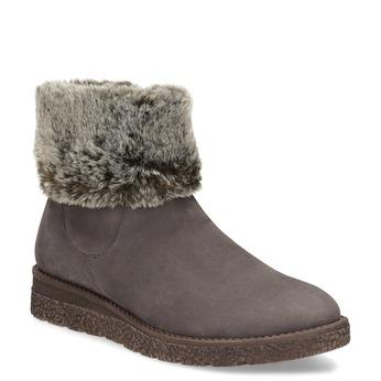 Kožená dámská zimní obuv s kožíškem bata, hnědá, 596-3704 - 13