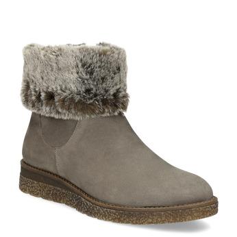 Dámská kožená zimní obuv s kožíškem bata, hnědá, 596-8704 - 13