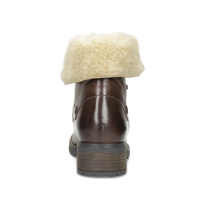 Dámská kožená kotníčková obuv s kožíškem bata, hnědá, 694-4669 - 15
