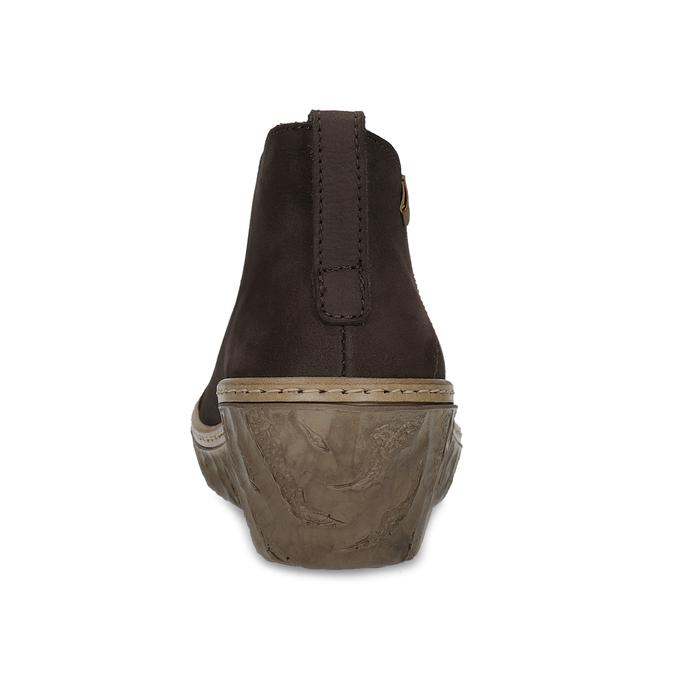 Kožené kotníčkové kozačky na klínku el-naturalista, hnědá, 716-6074 - 15
