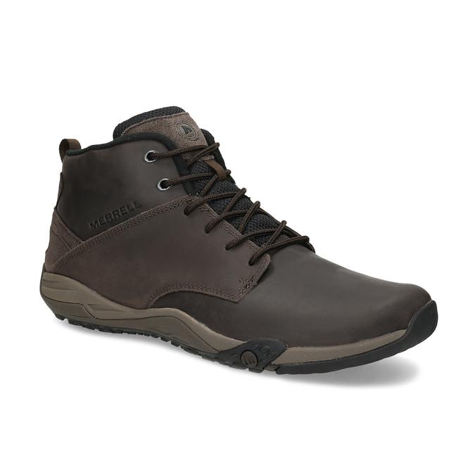 Kotníčková hnědá kožená pánská obuv merrell, hnědá, 806-4102 - 13