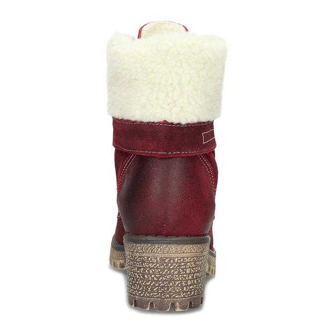 Vínová kožená kotníčková dámská obuv weinbrenner, červená, 696-5667 - 15