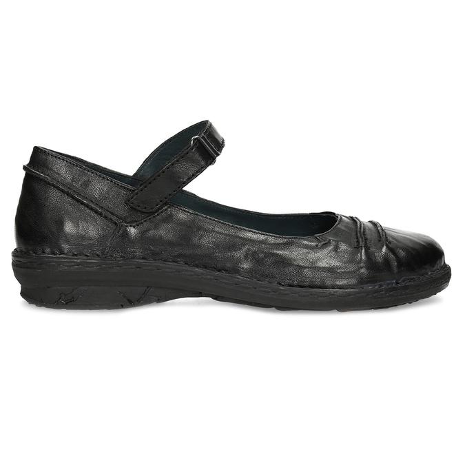 Kožené černé baleríny s páskem bata, černá, 526-6664 - 19