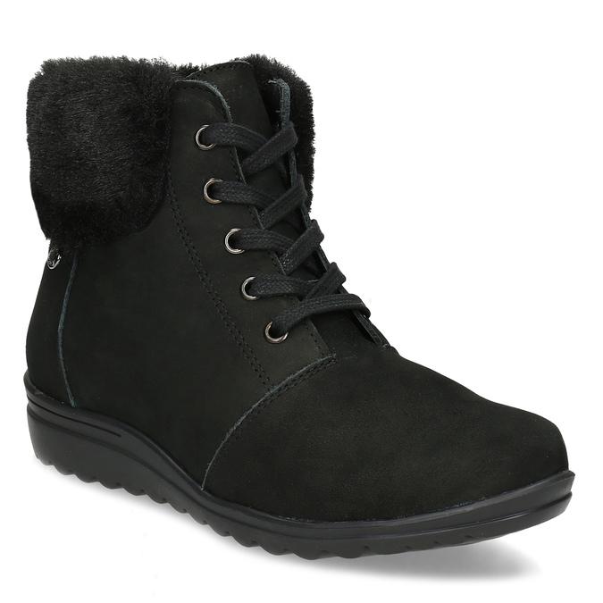 Kotníčková dámská kožená obuv comfit, černá, 596-6711 - 13