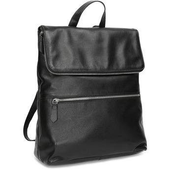 Kožený černý batůžek bata, černá, 964-6607 - 13