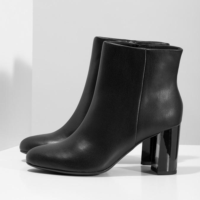Černé kotníčkové kozačky na stabilním podpatku bata-b-flex, černá, 791-6615 - 16