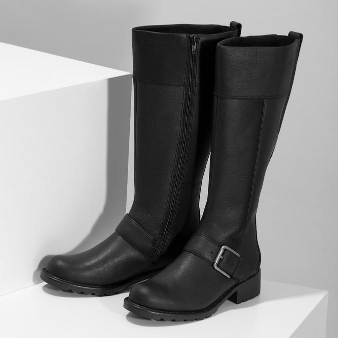 Černé dámské kozačky s přezkou clarks, černá, 696-6087 - 16