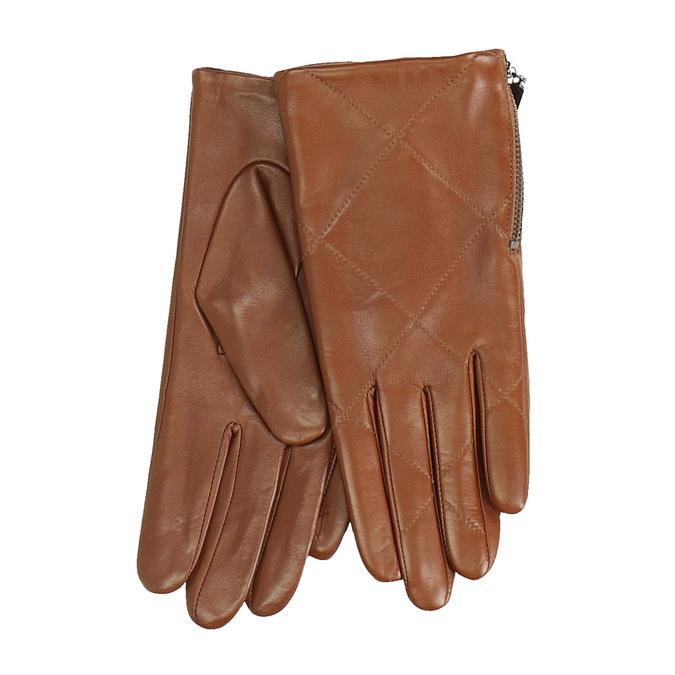 Dámské kožené rukavičky prošívané hnědé bata, hnědá, 904-3108 - 13