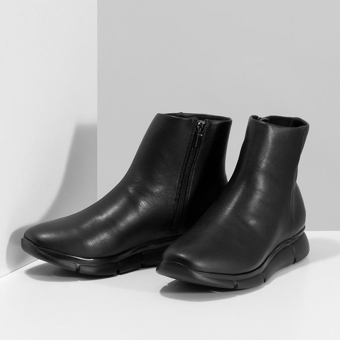 Dámská černá kotníčková obuv hladká bata-b-flex, černá, 591-6636 - 16