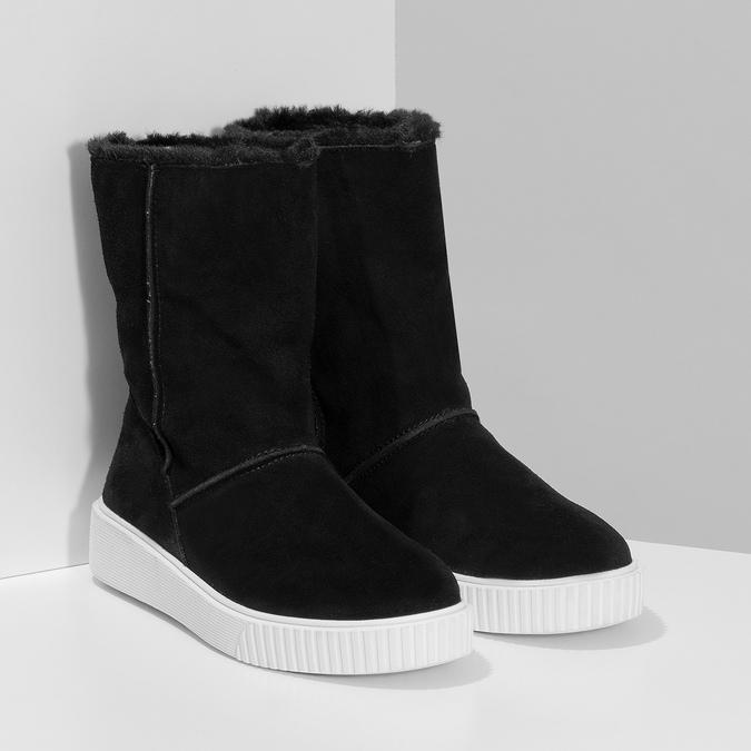 Zimní kožená obuv černá s bílou podešví bata, černá, 593-6613 - 26