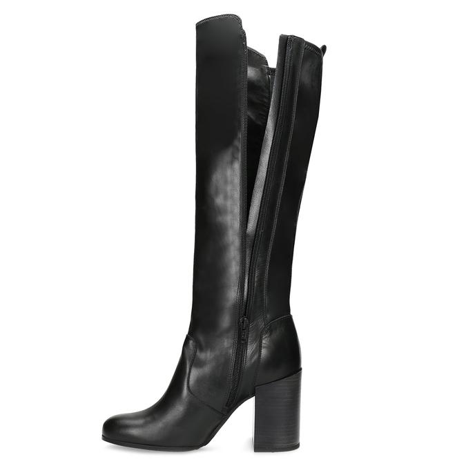 Černé kožené kozačky na podpatku bata, černá, 796-6662 - 17