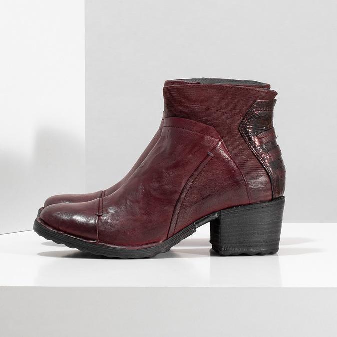 Kožená kotníčková obuv vínová bata, červená, 696-5666 - 16