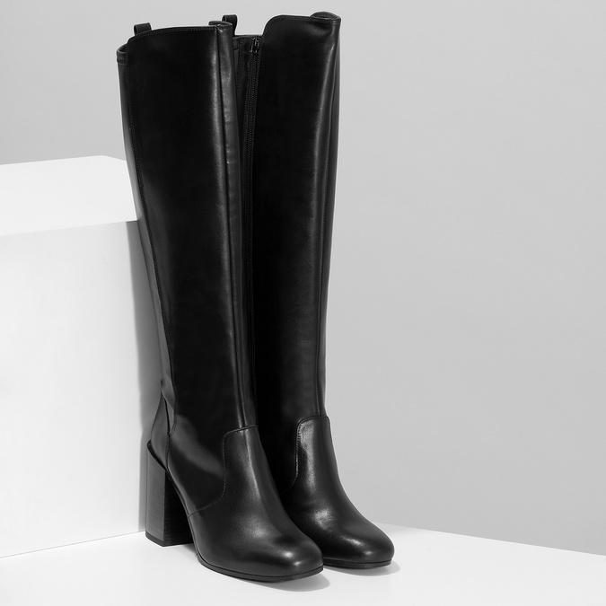 Černé kožené kozačky na podpatku bata, černá, 796-6662 - 26