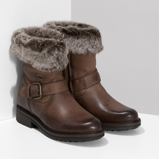Dámská zimní kožená obuv s kožíškem bata, hnědá, 596-4701 - 26