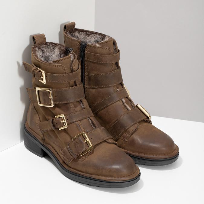 Hnědá kožená kotníková obuv s přezkami bata, hnědá, 596-4735 - 26