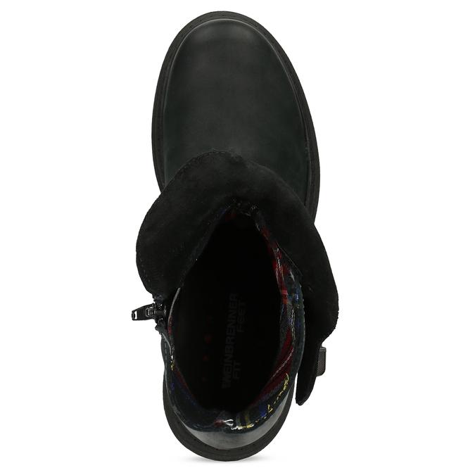 Dámská kožená zimní obuv s prošitím weinbrenner, černá, 596-6751 - 17
