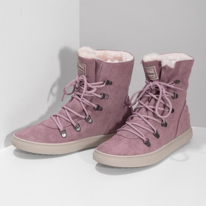 Dámská růžová zimní obuv se zateplením skechers, růžová, 503-5132 - 16