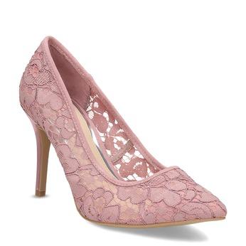 Růžové krajkové lodičky do špičky bata-red-label, růžová, 729-8631 - 13