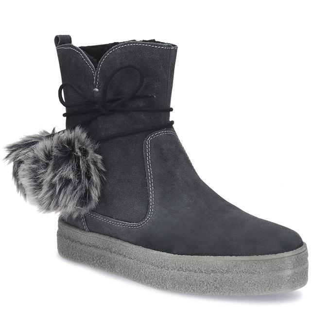 Šedá dámská kožená zimní obuv weinbrenner, šedá, 596-2749 - 13