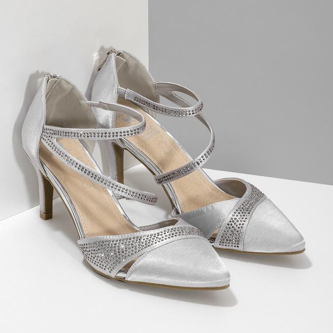 Stříbrné dámské sandály na jehlovém podpatku insolia, stříbrná, 729-1634 - 26
