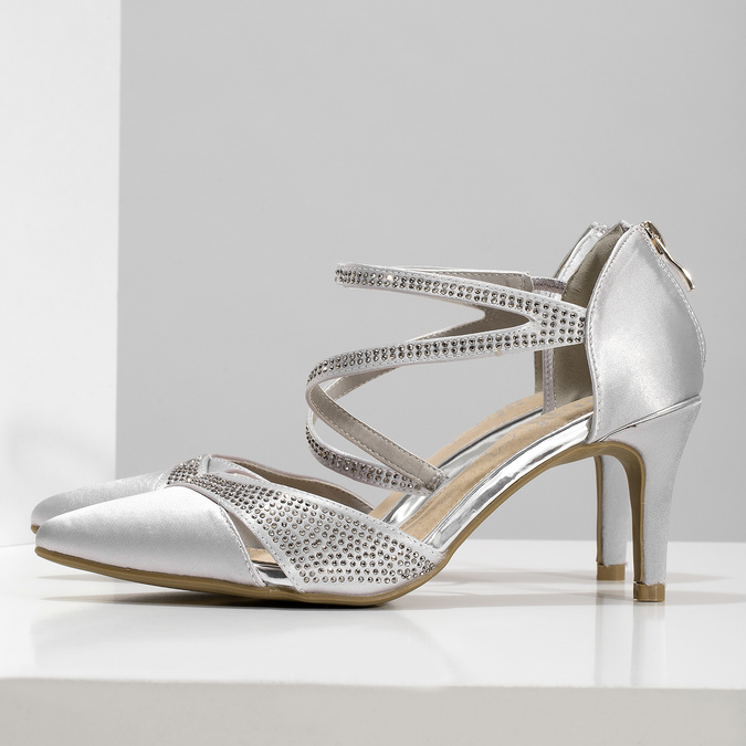 Stříbrné dámské sandály na jehlovém podpatku insolia, stříbrná, 729-1634 - 16
