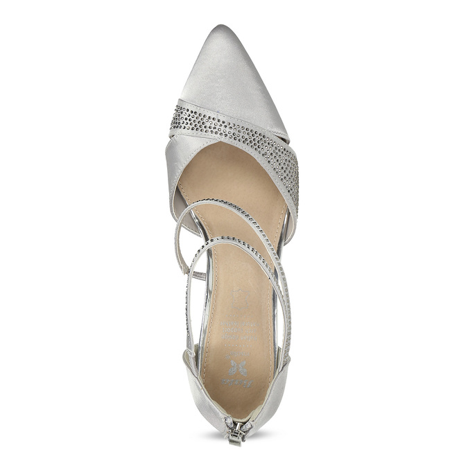 Stříbrné dámské sandály na jehlovém podpatku insolia, stříbrná, 729-1634 - 17