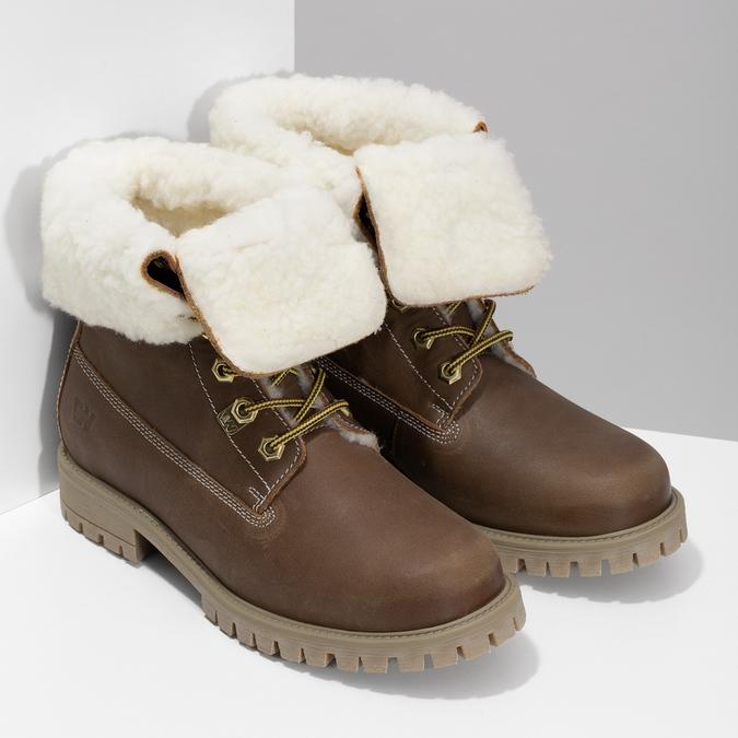 Dámská hnědá kožená zimní obuv weinbrenner, hnědá, 596-3743 - 26