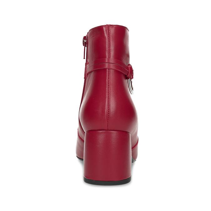 Červené kožené kotníčkové kozačky s přezkou bata, červená, 794-5608 - 15