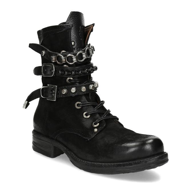 Kožená kotníčková obuv s přezkami černá a-s-98, černá, 626-6086 - 13