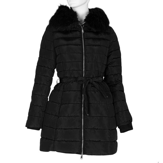 Dlouhá prošívaná bunda s kapucí a kožíškem bata, černá, 979-6325 - 13
