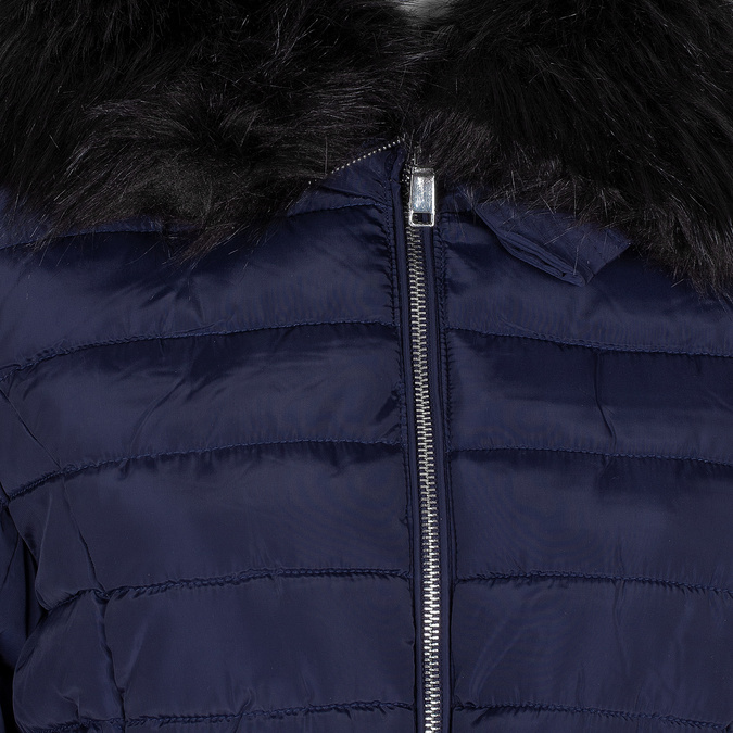 Dlouhá dámská prošívaná bunda s kožíškem bata, modrá, 979-9325 - 16
