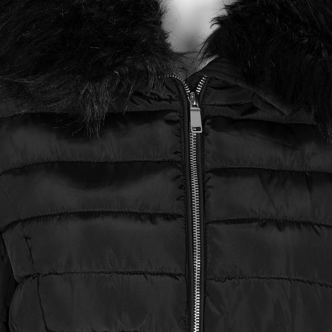 Dlouhá prošívaná bunda s kapucí a kožíškem bata, černá, 979-6325 - 16