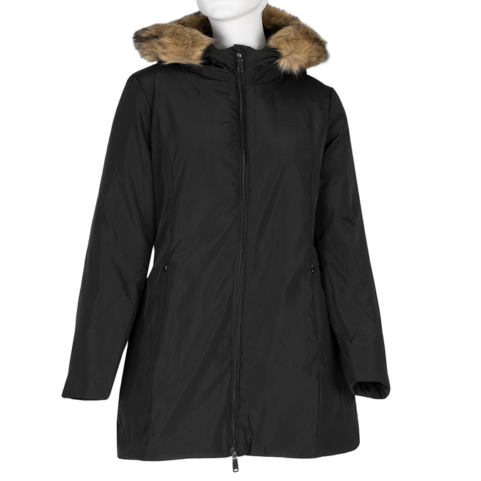 Dlouhá dámská bunda s kapucí a kožíškem bata, černá, 979-6355 - 13