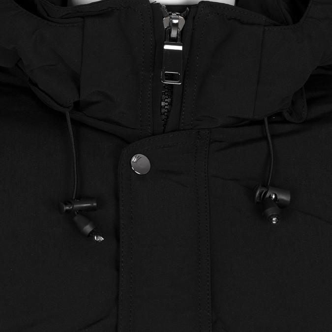 Dlouhá pánská černá bunda s kapucí bata, černá, 979-6366 - 16