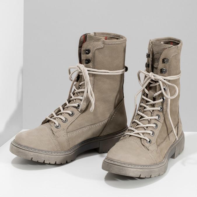 Béžová kožená dámská obuv vysoká weinbrenner, béžová, 596-8746 - 16