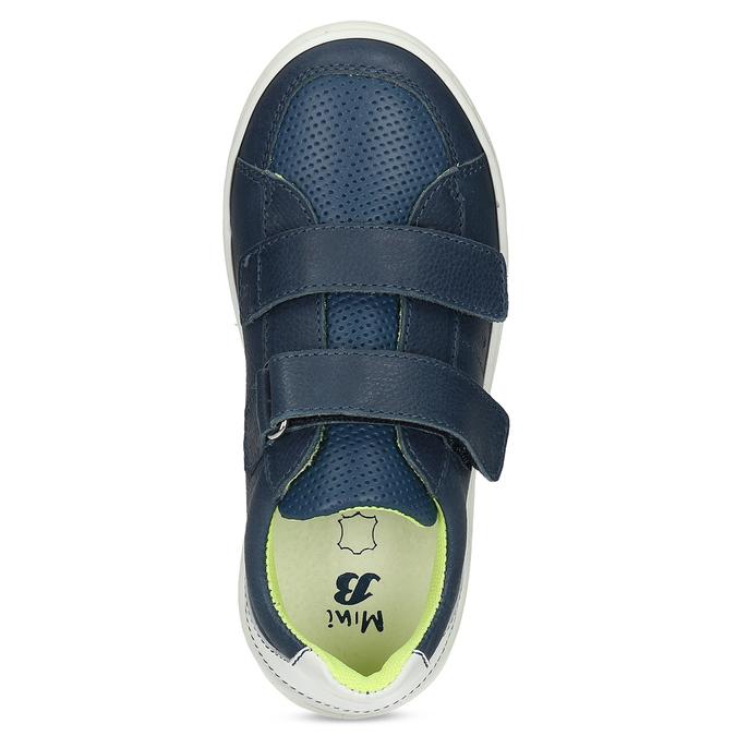 Dětské kožené modré tenisky s perforací mini-b, modrá, 214-9610 - 17