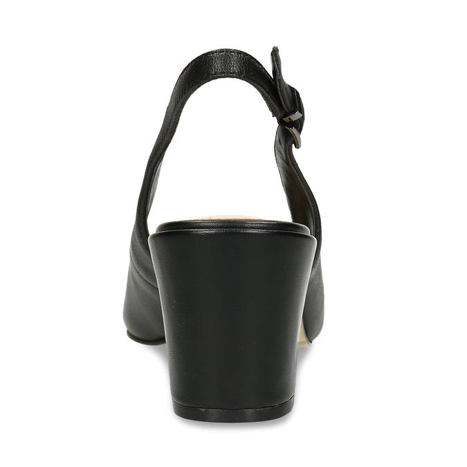 Černé kožené lodičky s otevřenou patou insolia, černá, 624-6647 - 15