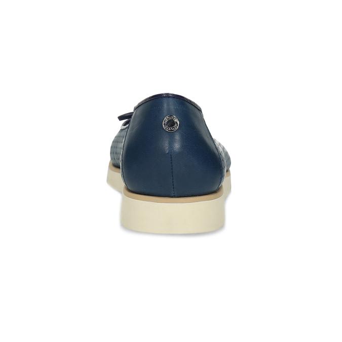 Tmavě modré kožené baleríny s perforací flexible, modrá, 524-9607 - 15