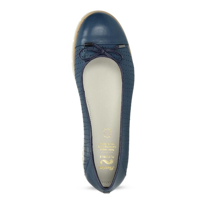 Tmavě modré kožené baleríny s perforací flexible, modrá, 524-9607 - 17