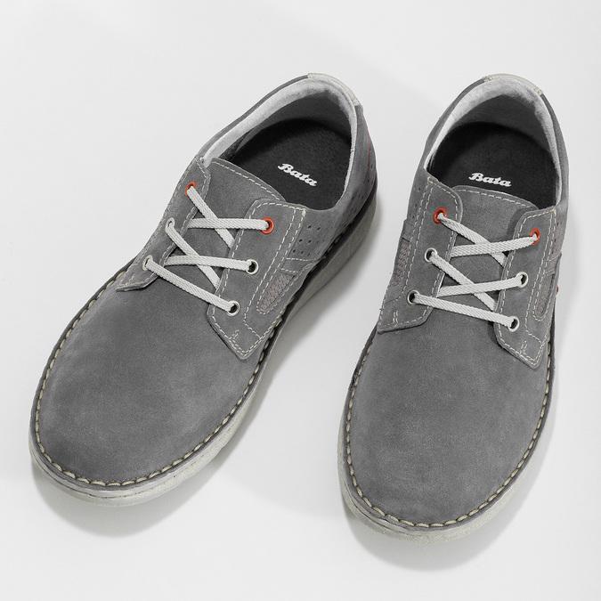 Pánské šedé tenisky z broušené kůže bata, šedá, 823-2640 - 16
