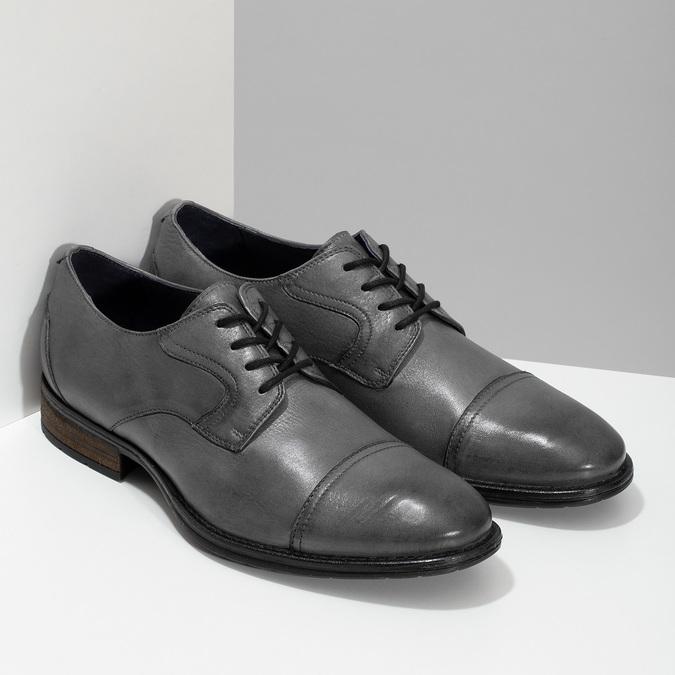 Šedé kožené pánské polobotky bata, šedá, 826-2862 - 26
