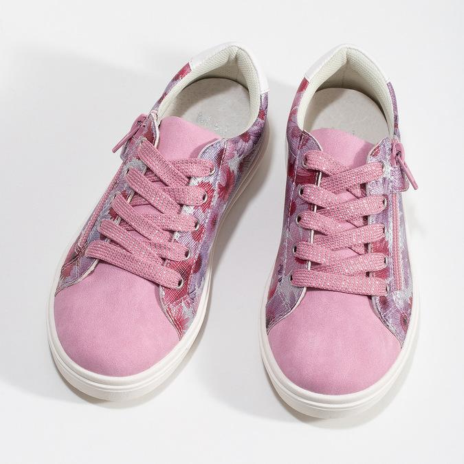 Růžové dětské tenisky s květinovým potiskem mini-b, růžová, 321-5635 - 16