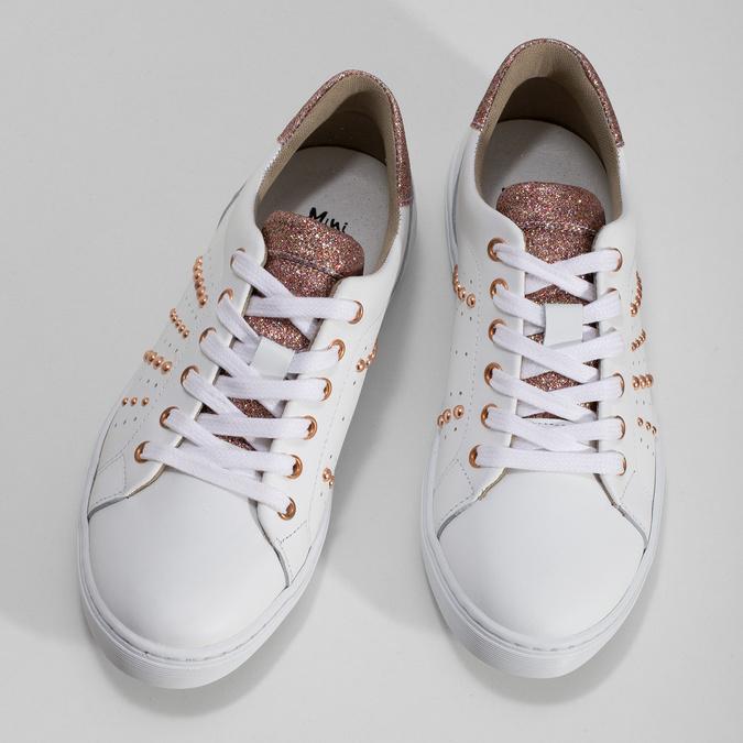 Dětské kožené tenisky s kovovými cvoky mini-b, bílá, 424-1601 - 16