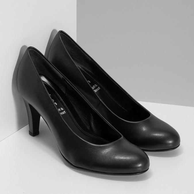 Černé dámské lodičky s kulatou špicí gabor, černá, 621-6657 - 26