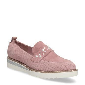Dámské kožené mokasíny s perličkami bata, růžová, 533-5605 - 13