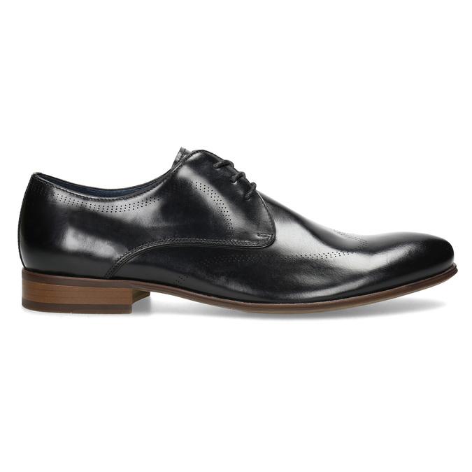 Černé kožené Derby polobotky s perforací bata, černá, 824-6833 - 19