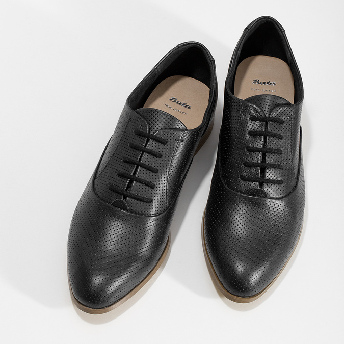 Kožené černé dámské polobotky s perforací bata, černá, 524-6671 - 16