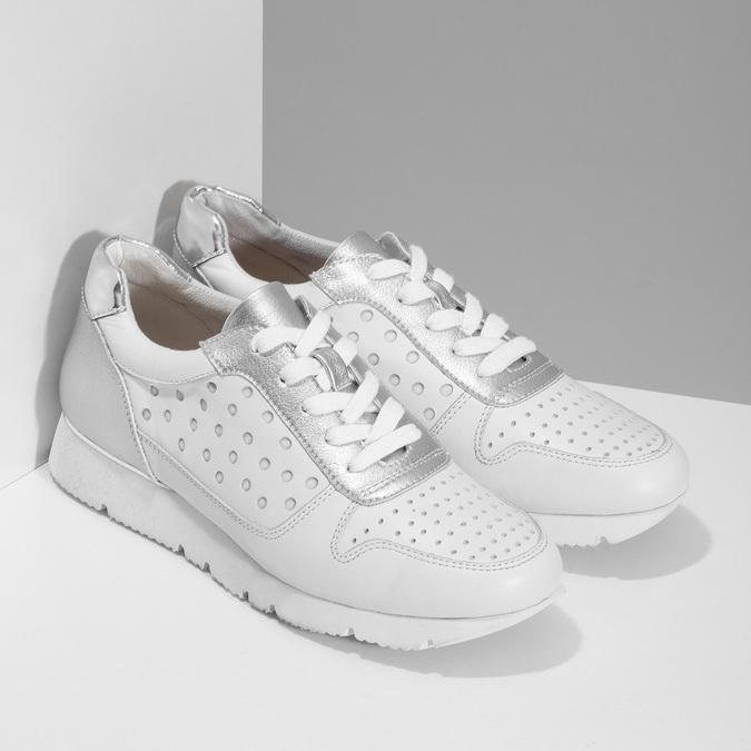 Bílo-stříbrné kožené dámské tenisky bata, bílá, 544-1600 - 26