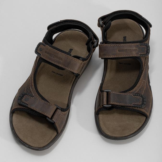 Hnědé pánské sandály z broušené kůže weinbrenner, 866-4631 - 16